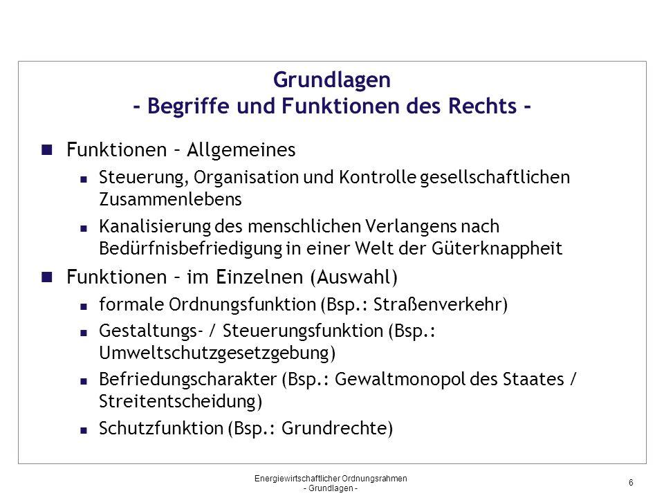 Grundlagen - Begriffe und Funktionen des Rechts -