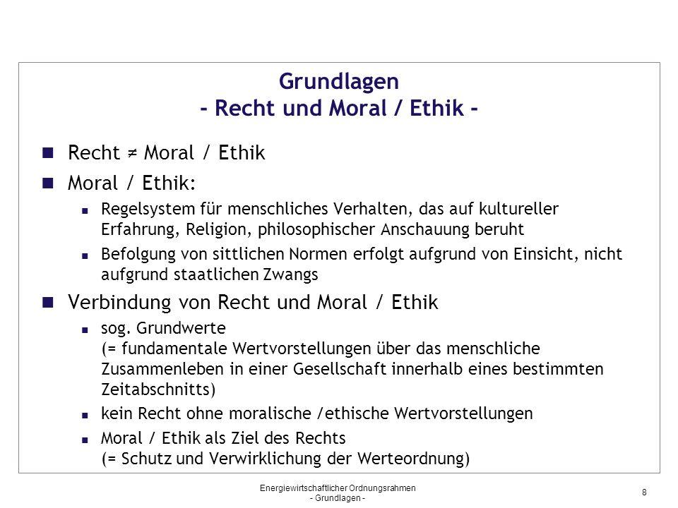 Grundlagen - Recht und Moral / Ethik -