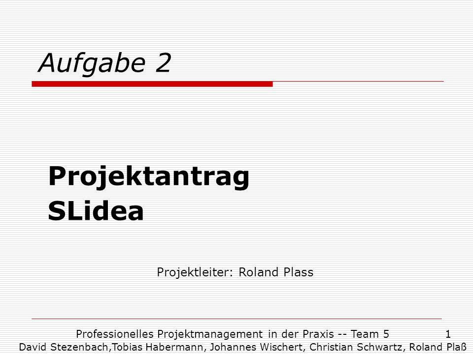 Aufgabe 2 Projektantrag SLidea Projektleiter: Roland Plass