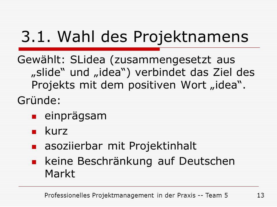 3.1. Wahl des Projektnamens