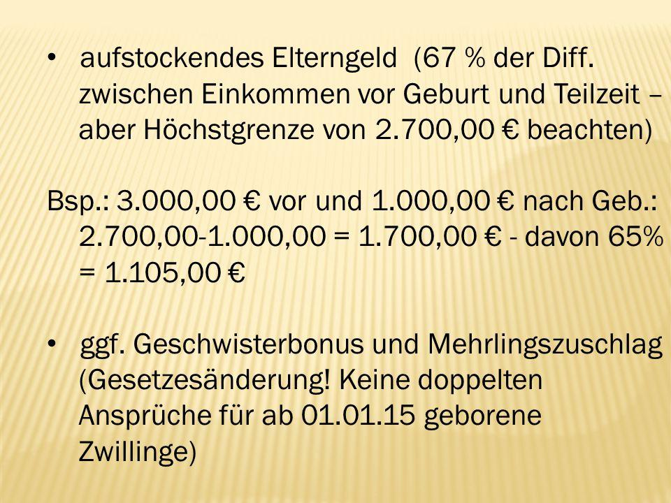 aufstockendes Elterngeld (67 % der Diff.