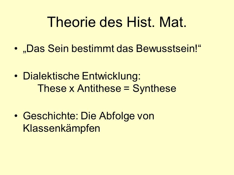 """Theorie des Hist. Mat. """"Das Sein bestimmt das Bewusstsein!"""