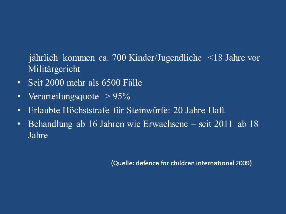 jährlich kommen ca. 700 Kinder/Jugendliche <18 Jahre vor Militärgericht