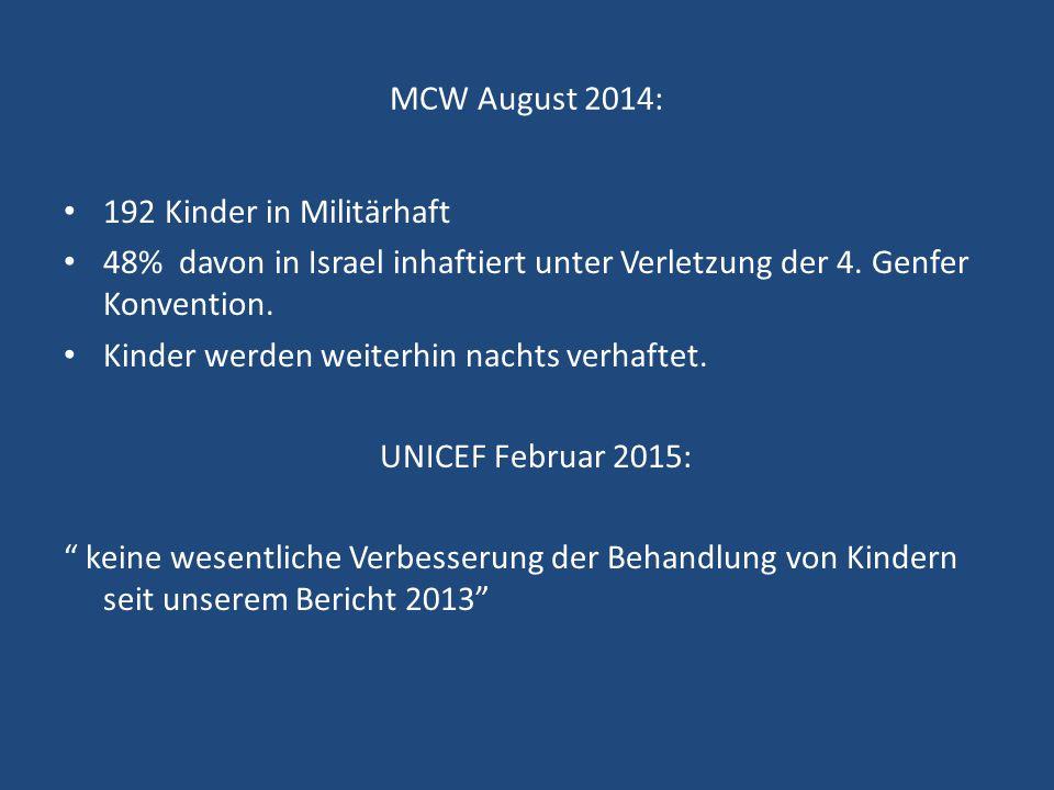 MCW August 2014: 192 Kinder in Militärhaft. 48% davon in Israel inhaftiert unter Verletzung der 4. Genfer Konvention.