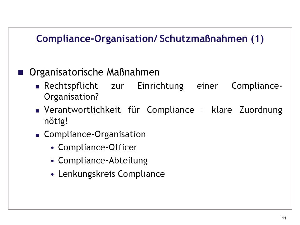 Compliance-Organisation/ Schutzmaßnahmen (1)
