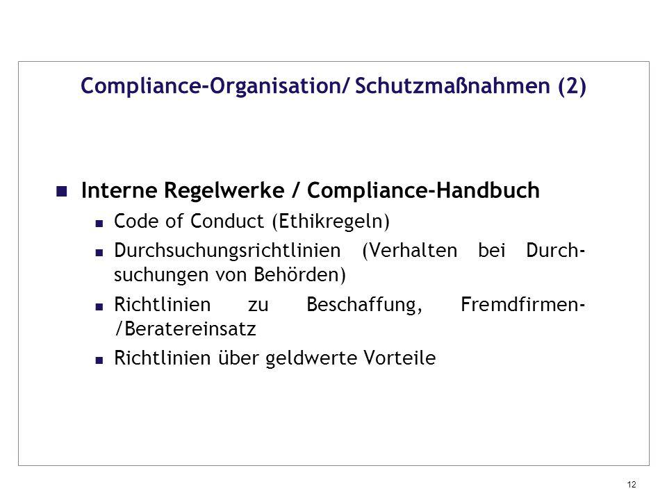 Compliance-Organisation/ Schutzmaßnahmen (2)