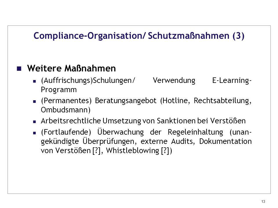 Compliance-Organisation/ Schutzmaßnahmen (3)