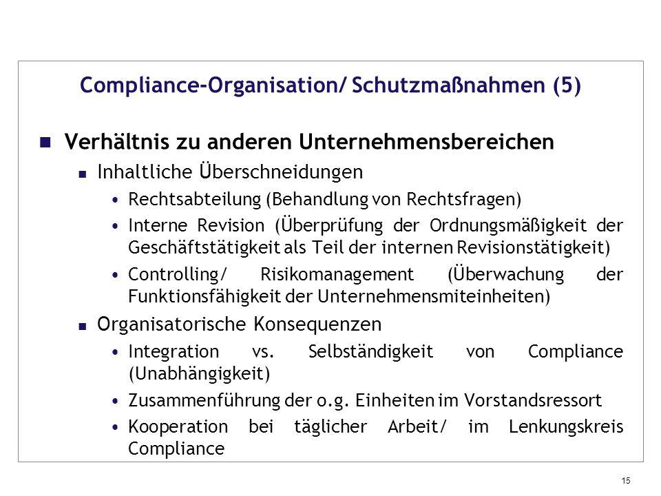 Compliance-Organisation/ Schutzmaßnahmen (5)
