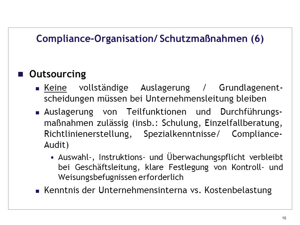 Compliance-Organisation/ Schutzmaßnahmen (6)