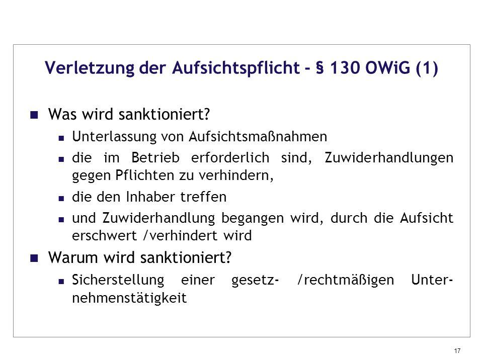 Verletzung der Aufsichtspflicht - § 130 OWiG (1)