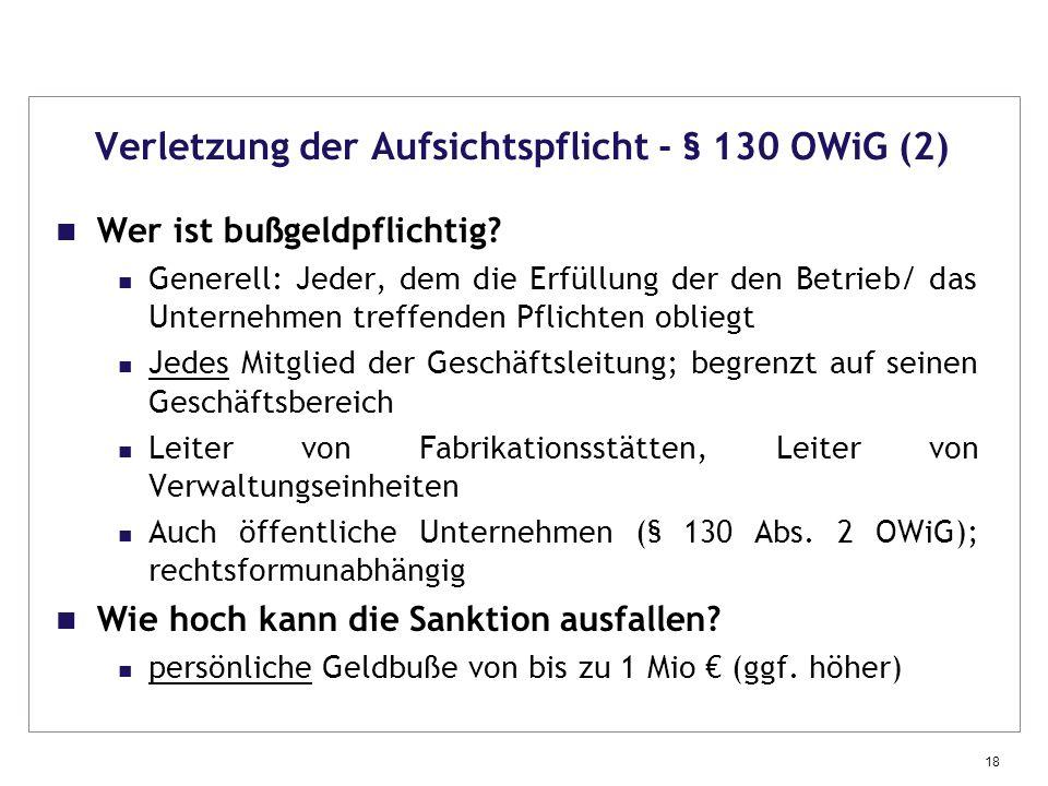 Verletzung der Aufsichtspflicht - § 130 OWiG (2)