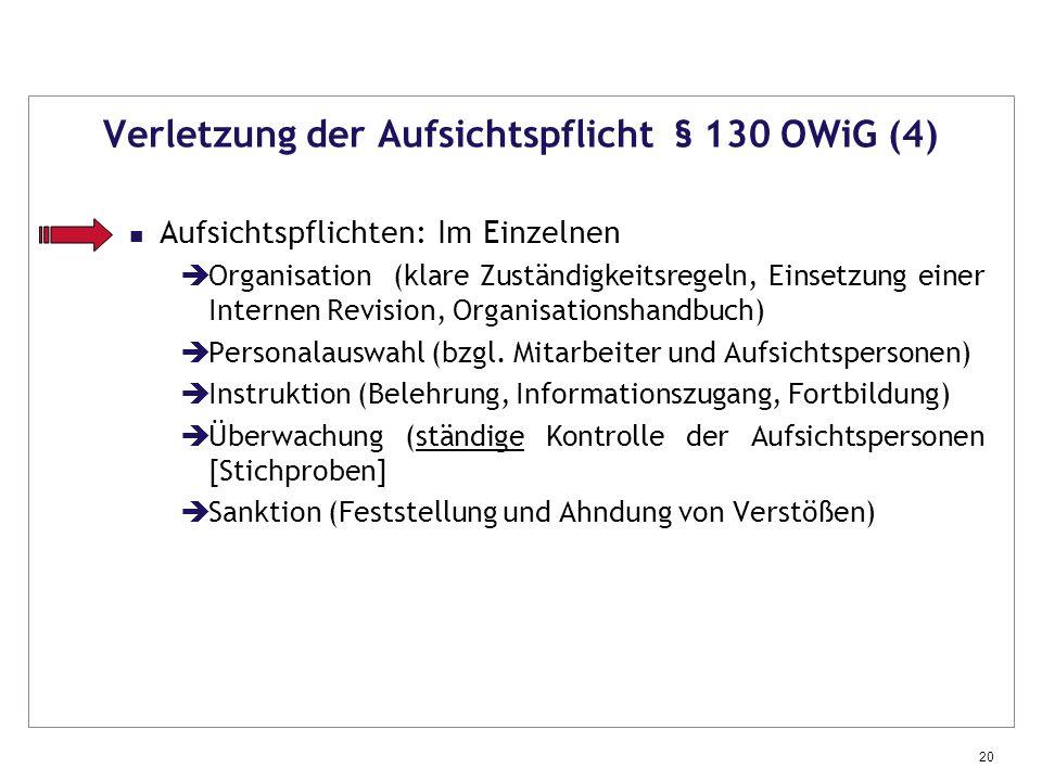Verletzung der Aufsichtspflicht § 130 OWiG (4)