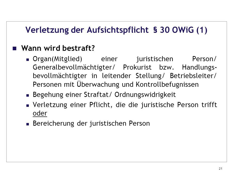 Verletzung der Aufsichtspflicht § 30 OWiG (1)