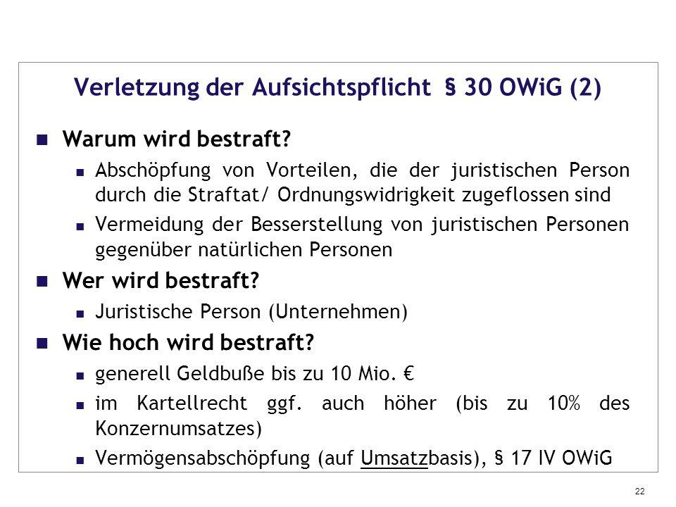 Verletzung der Aufsichtspflicht § 30 OWiG (2)