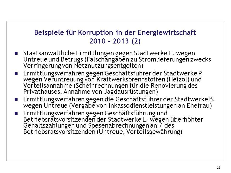 Beispiele für Korruption in der Energiewirtschaft 2010 – 2013 (2)