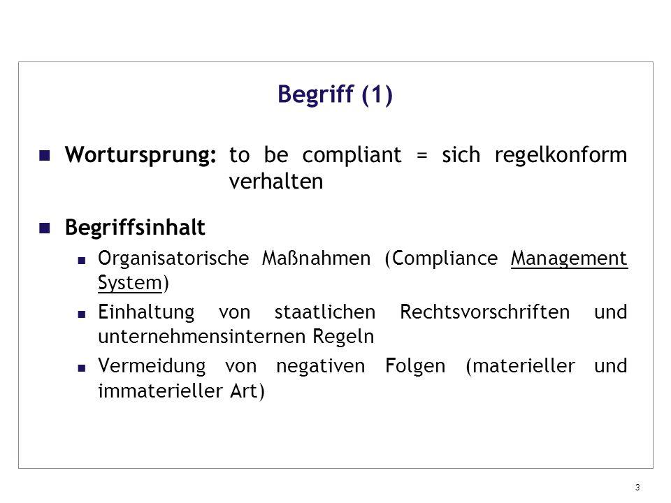 Begriff (1) Wortursprung: to be compliant = sich regelkonform verhalten. Begriffsinhalt.