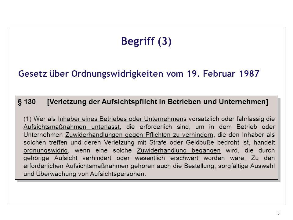 Begriff (3) Gesetz über Ordnungswidrigkeiten vom 19. Februar 1987