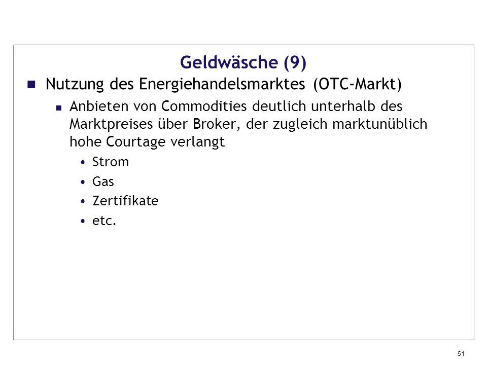 Geldwäsche (9) Nutzung des Energiehandelsmarktes (OTC-Markt)