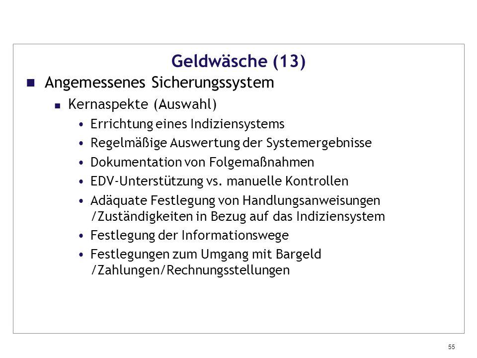 Geldwäsche (13) Angemessenes Sicherungssystem Kernaspekte (Auswahl)