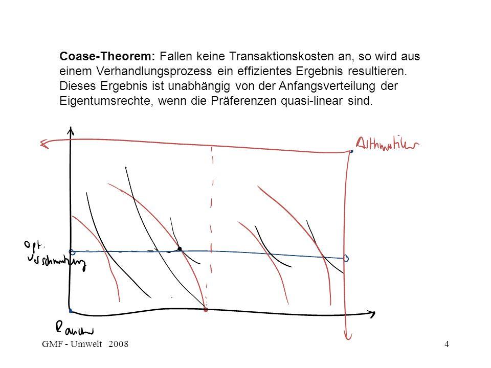 Coase-Theorem: Fallen keine Transaktionskosten an, so wird aus einem Verhandlungsprozess ein effizientes Ergebnis resultieren. Dieses Ergebnis ist unabhängig von der Anfangsverteilung der Eigentumsrechte, wenn die Präferenzen quasi-linear sind.