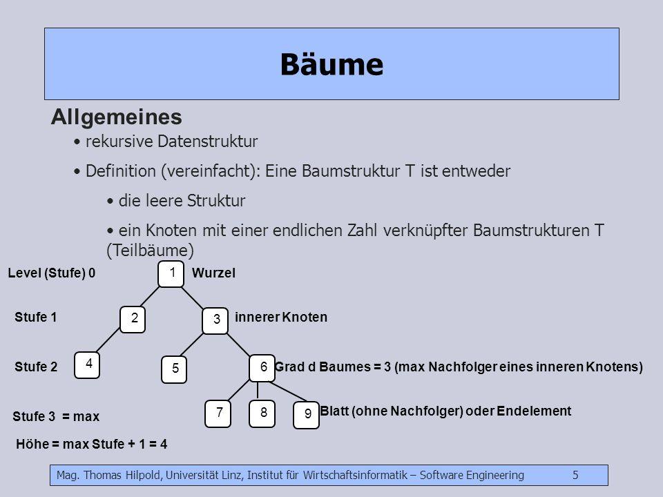 Bäume Allgemeines rekursive Datenstruktur