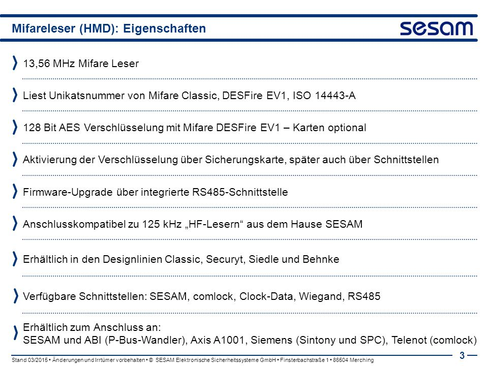 Mifareleser (HMD): Eigenschaften