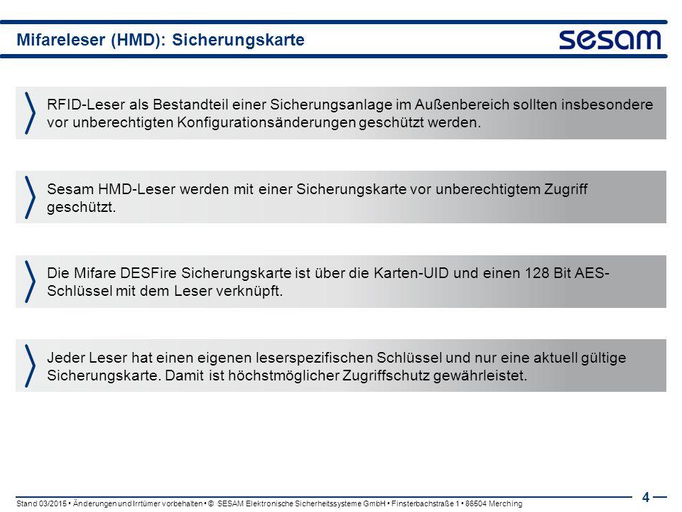 Mifareleser (HMD): Sicherungskarte
