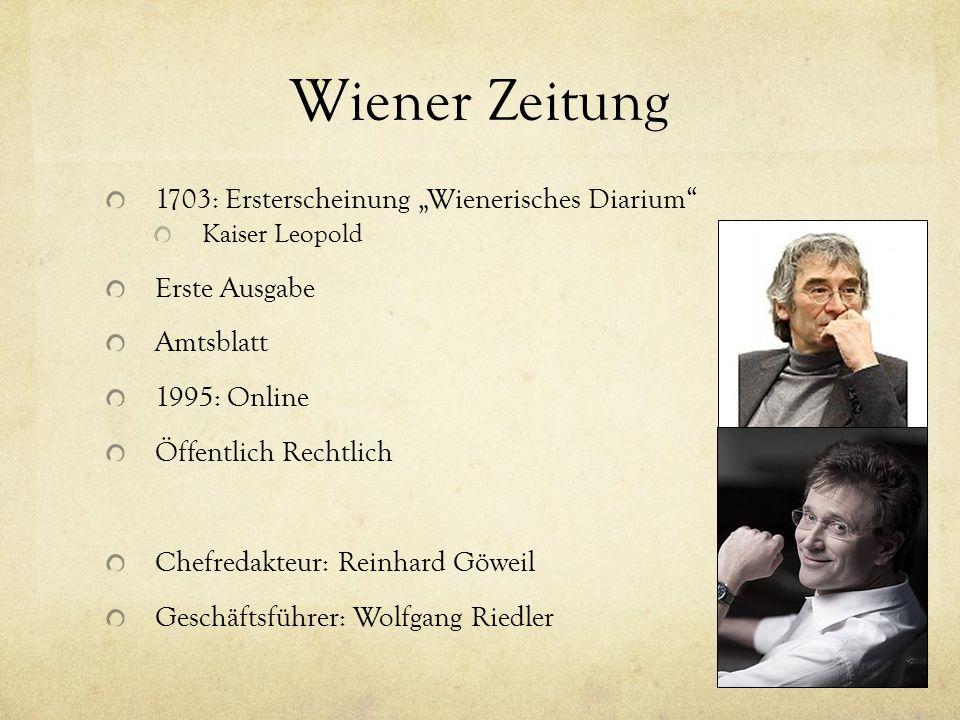 """Wiener Zeitung 1703: Ersterscheinung """"Wienerisches Diarium"""