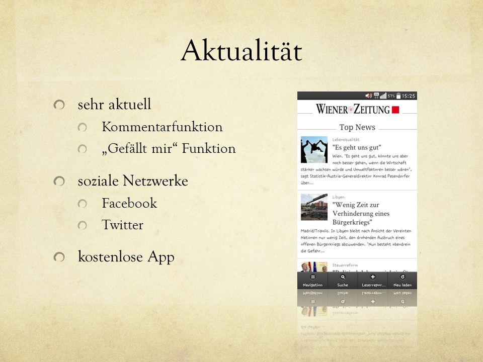 Aktualität sehr aktuell soziale Netzwerke kostenlose App
