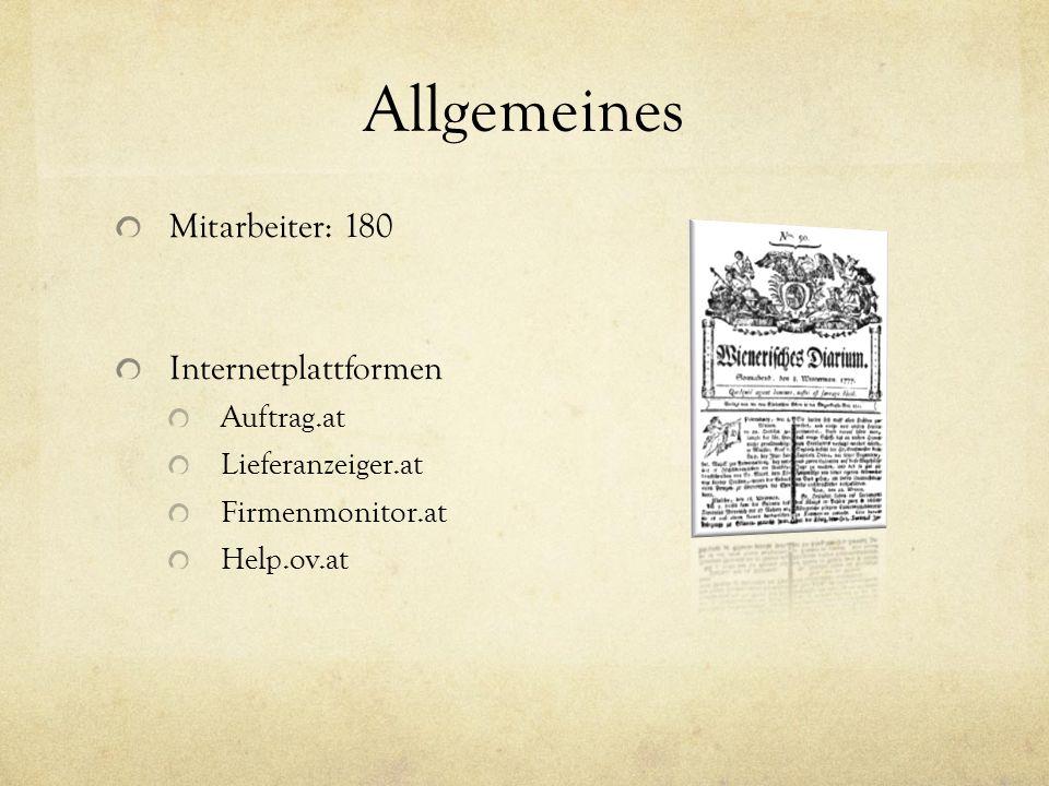 Allgemeines Mitarbeiter: 180 Internetplattformen Auftrag.at