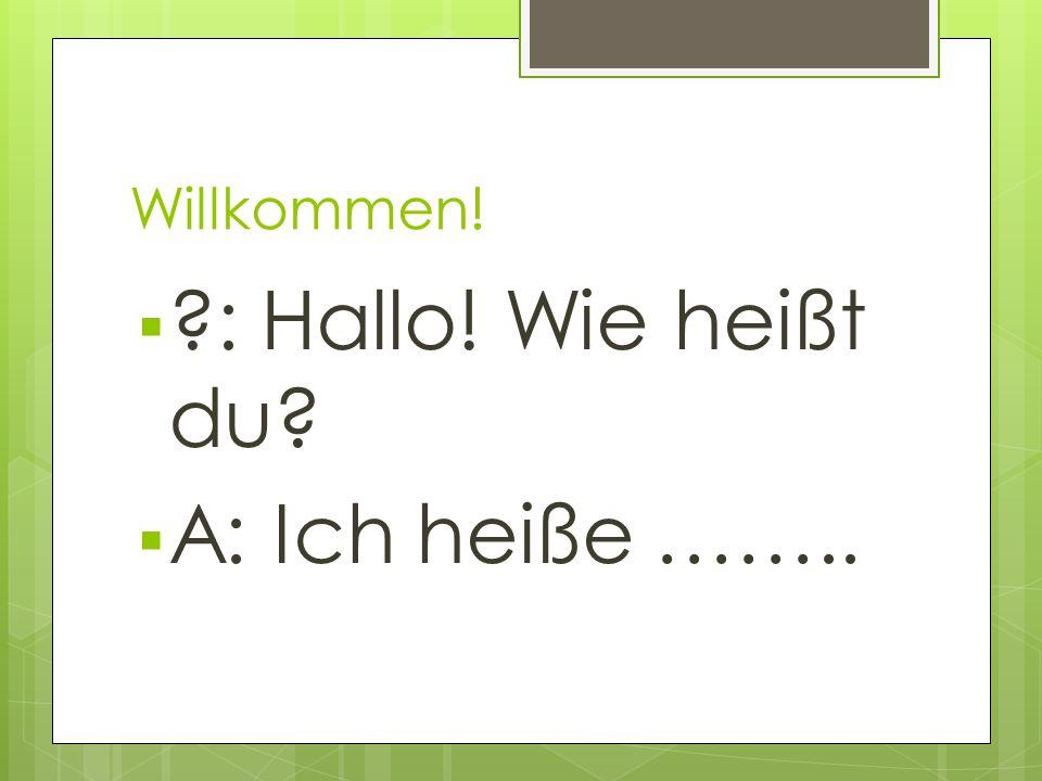 Willkommen! : Hallo! Wie heißt du A: Ich heiße ……..