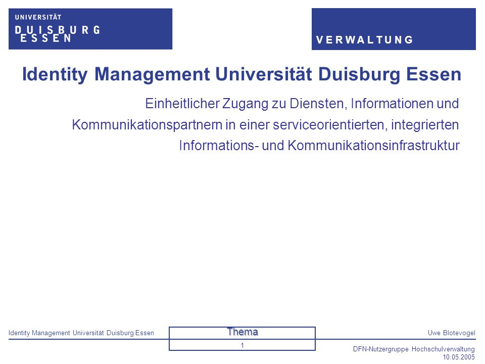 Identity Management Universität Duisburg Essen