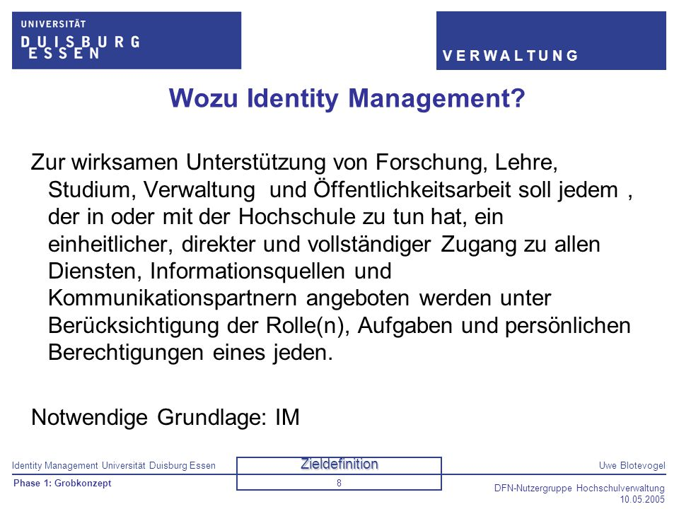 Wozu Identity Management