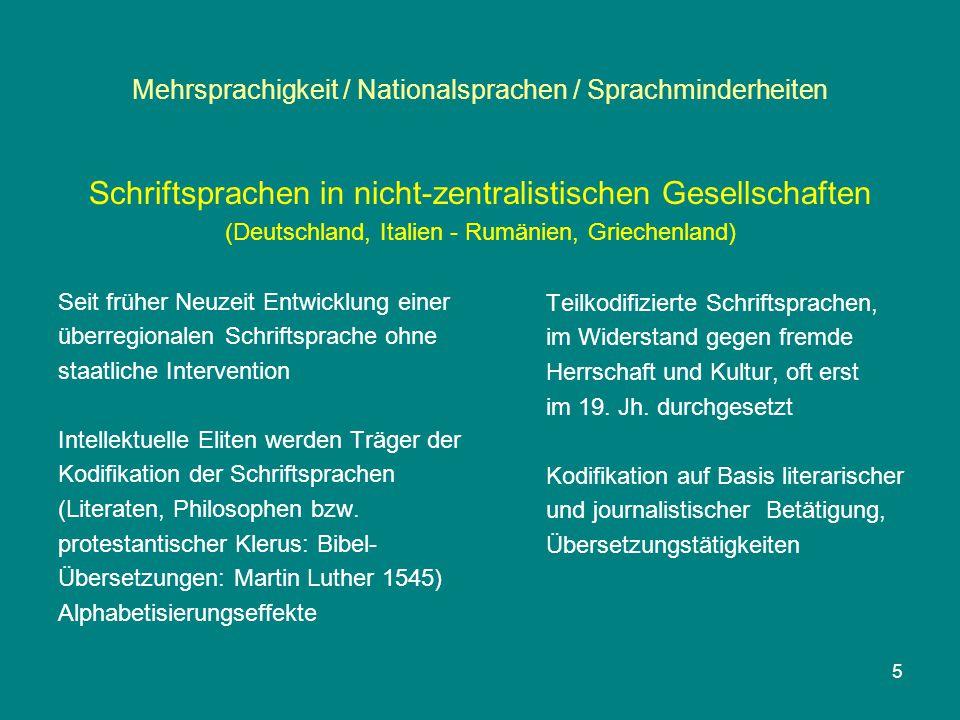 Mehrsprachigkeit / Nationalsprachen / Sprachminderheiten