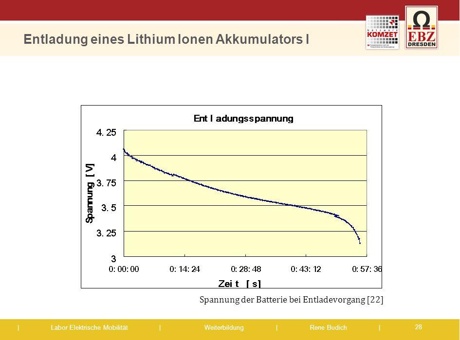 Entladung eines Lithium Ionen Akkumulators I
