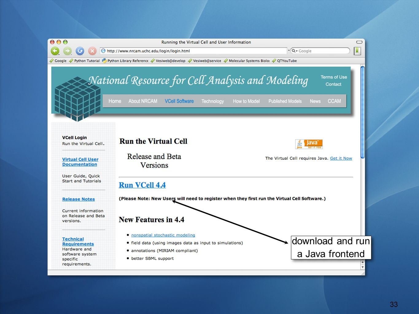 The Virtual Cell download and run a Java frontend 33