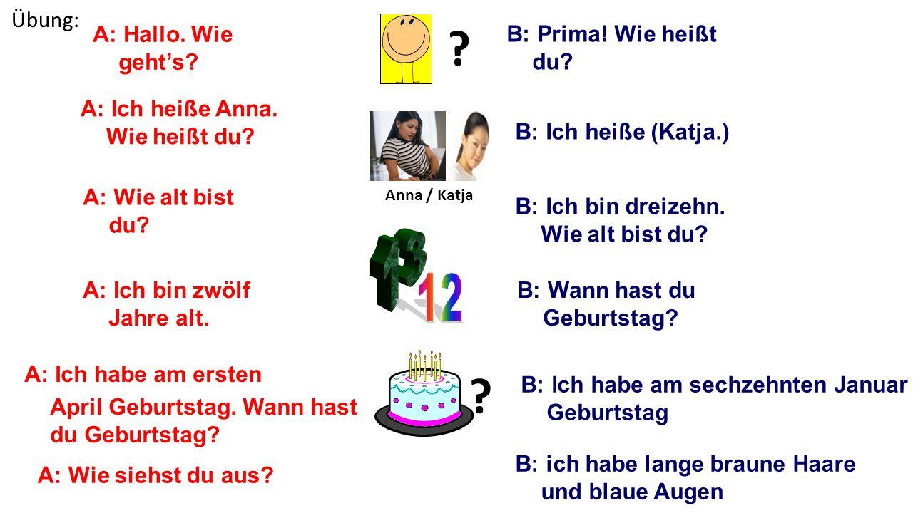 13 12 Übung: A: Hallo. Wie geht's B: Prima! Wie heißt du