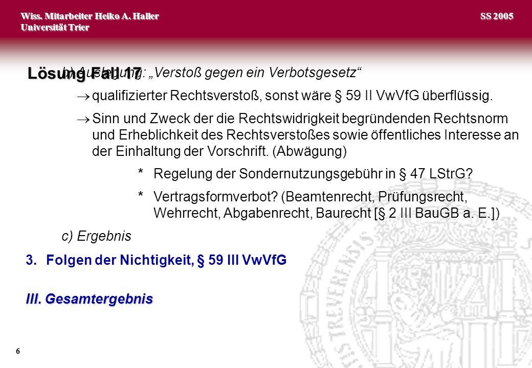 "Lösung Fall 17 b) Auslegung: ""Verstoß gegen ein Verbotsgesetz"