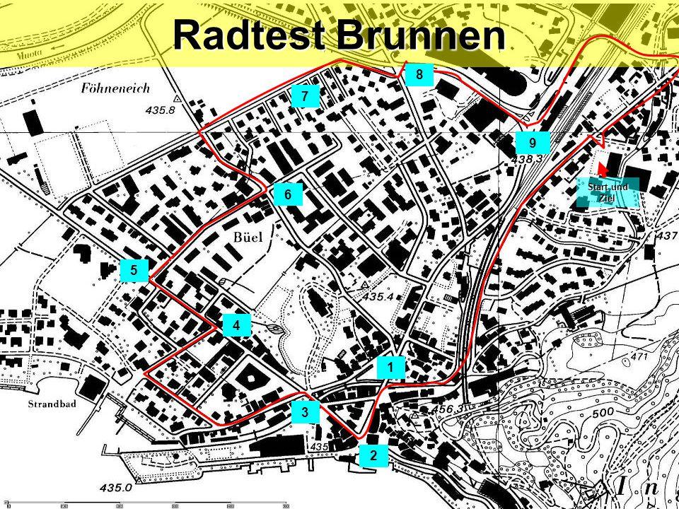 Radtest Brunnen 8 7 9 Start und Ziel 6 5 4 1 3 2