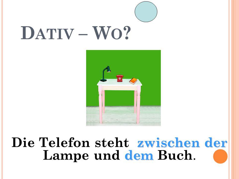 Die Telefon steht zwischen der Lampe und dem Buch.