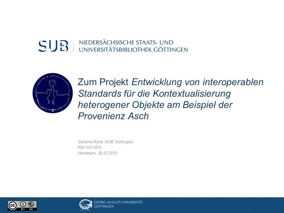 Projektdetails Ziel: Entwicklung von interoperablen Standards für die Kontextualisierung heterogener Objekte.