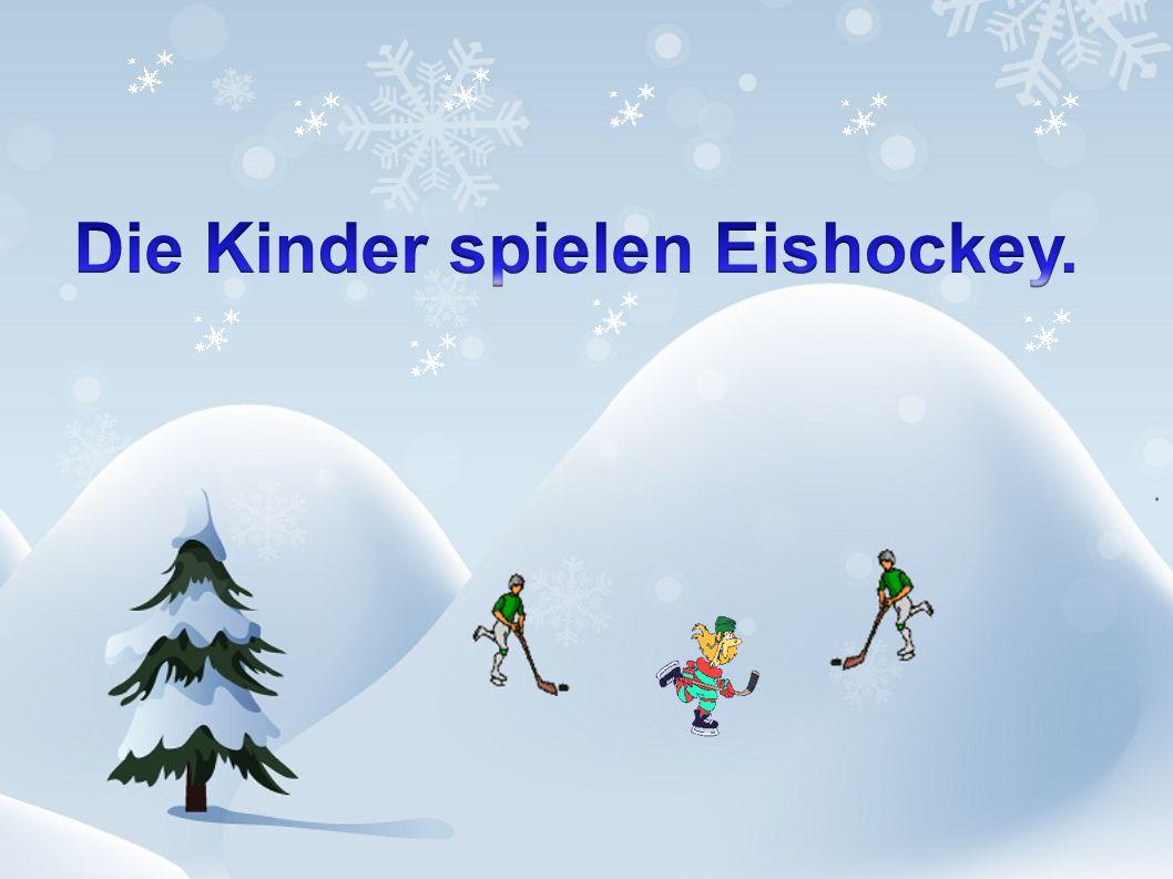 Die Kinder spielen Eishockey.