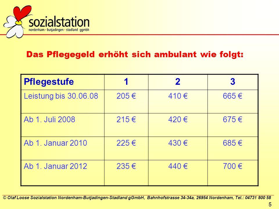 Das Pflegegeld erhöht sich ambulant wie folgt: