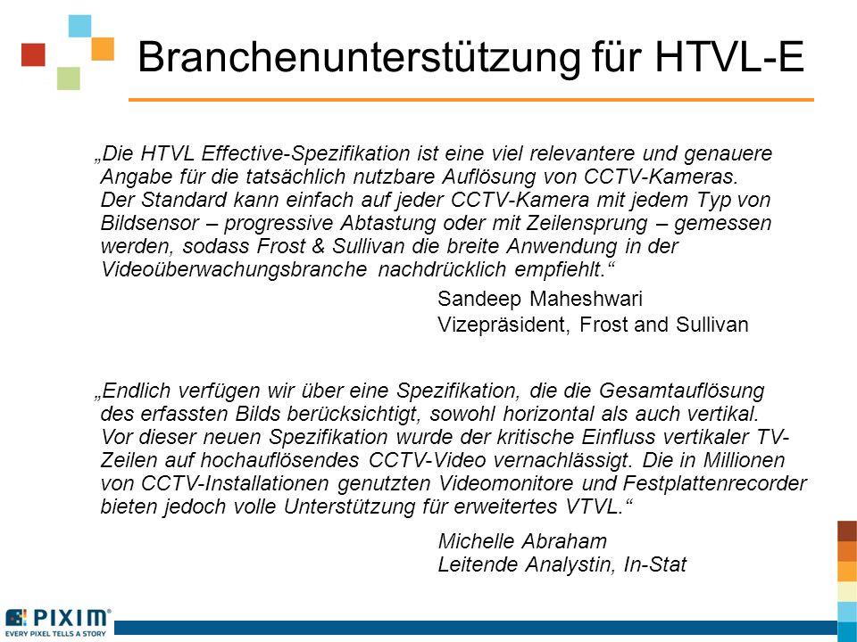 Branchenunterstützung für HTVL-E