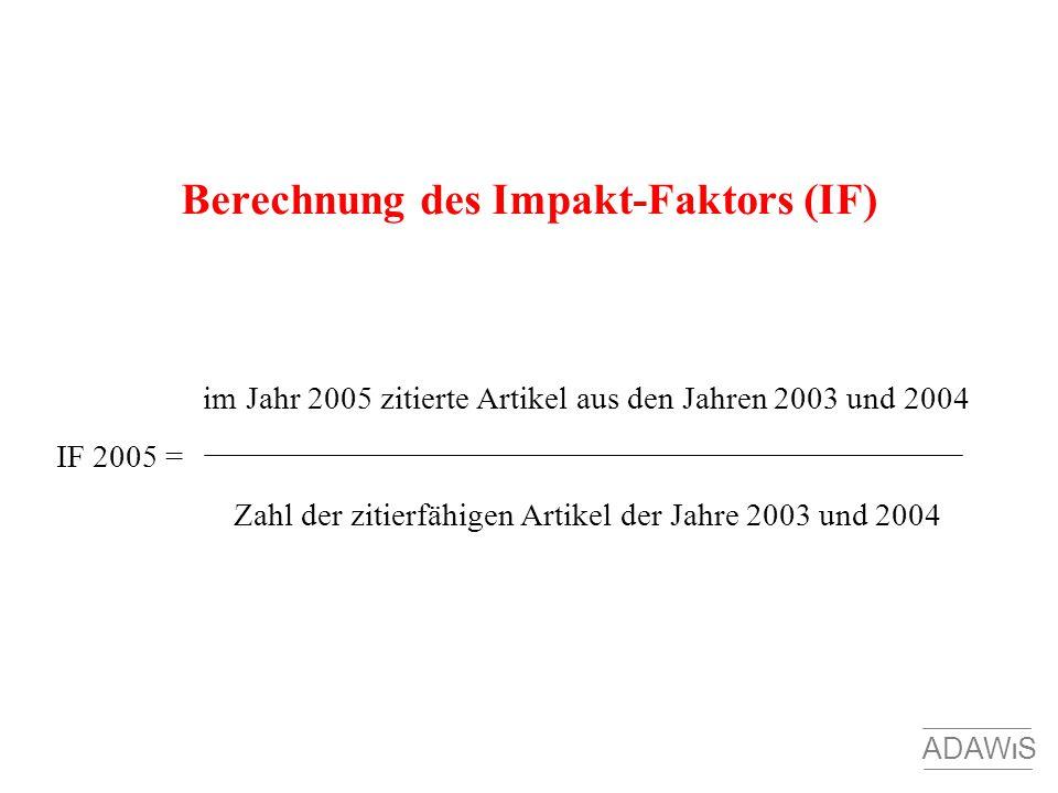 Berechnung des Impakt-Faktors (IF)