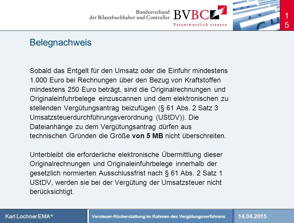 Belegnachweis