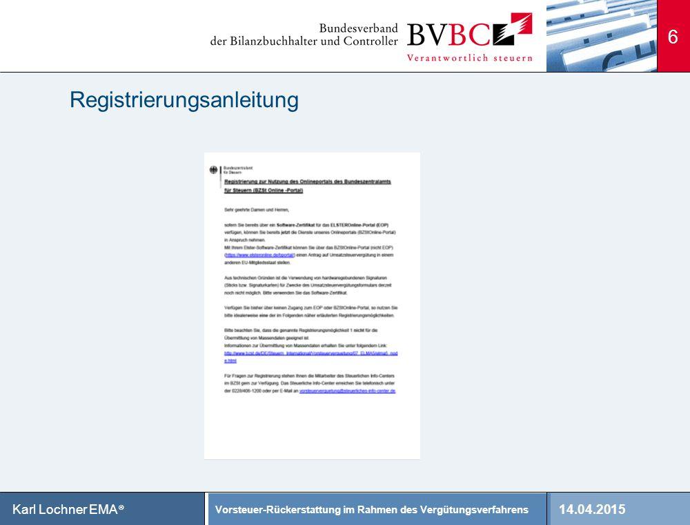 Registrierungsanleitung