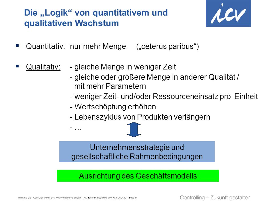 "Die ""Logik von quantitativem und qualitativen Wachstum"