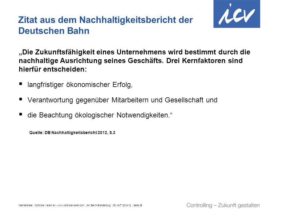 Zitat aus dem Nachhaltigkeitsbericht der Deutschen Bahn