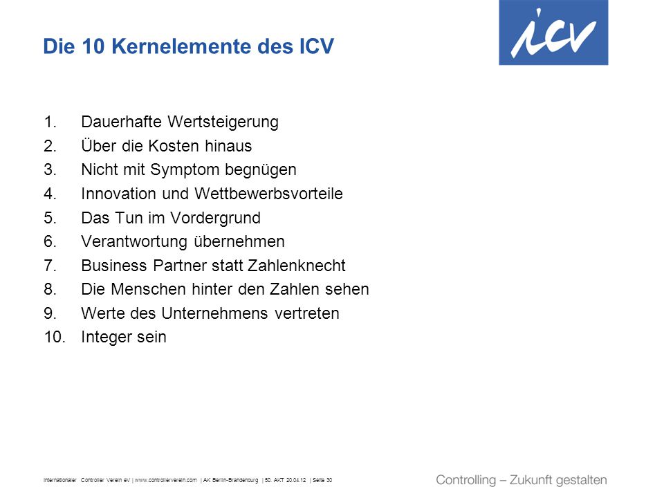 Die 10 Kernelemente des ICV